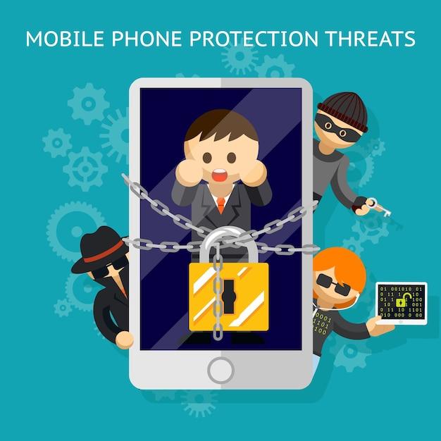 脅威から携帯電話を保護します。ハッカーの攻撃に対する保護。 無料ベクター