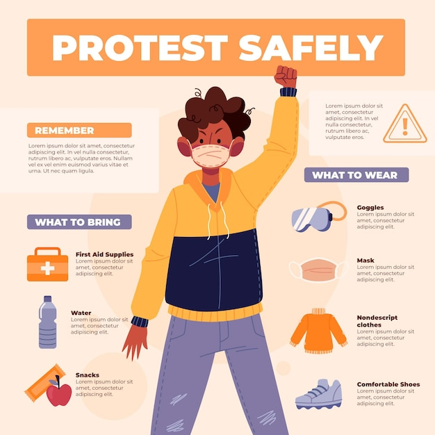 Protect yourself and protest safely man in jacket Free Vector