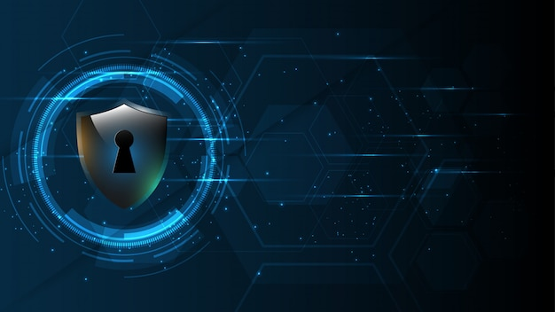 Protected guard shield security  security cyber digital abstract technology background Premium Vector