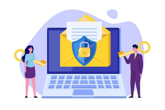 Защита компьютерных данных, концепция шифрования электронной почты. Premium векторы