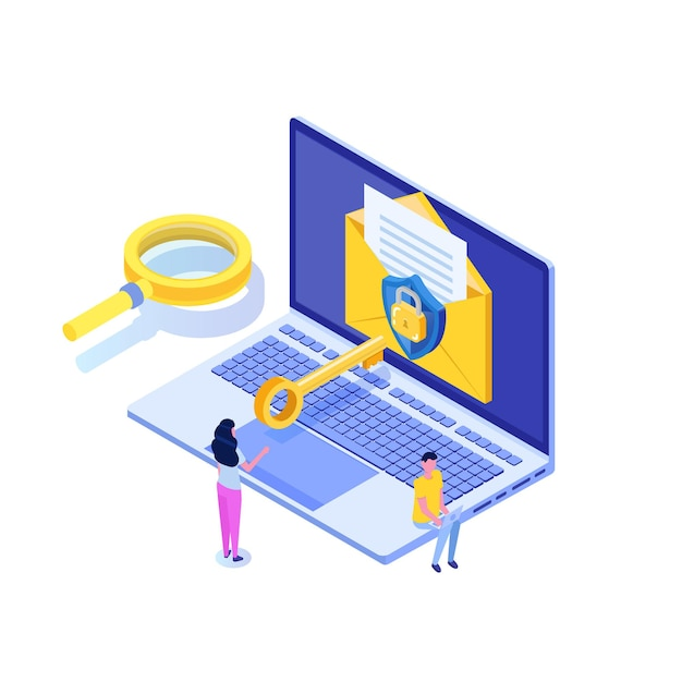 Protecting computer data, email encryption isometric concept. Premium Vector