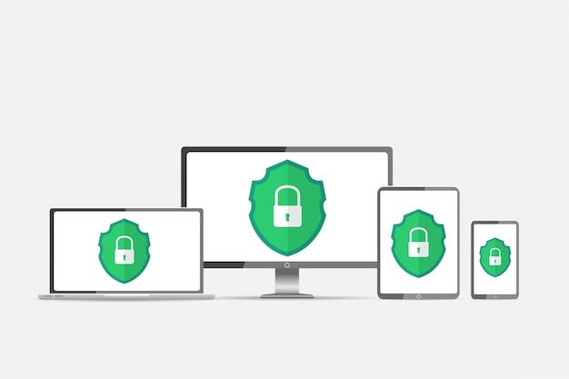 Protection against hacker Premium Vector
