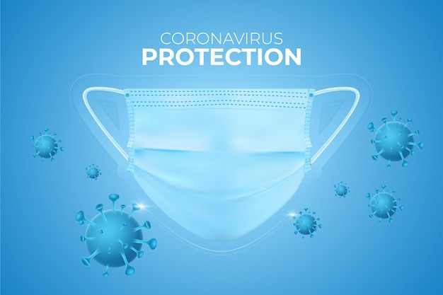 Protection background coronavirus with face mask Free Vector