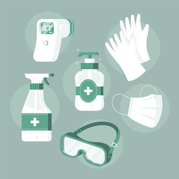 Protection equipment set Free Vector