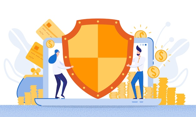 Protection funds from electronic banking system Premium Vector