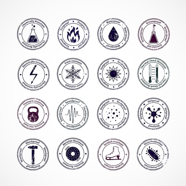Protection proof round stamps with shockproof waterproof fireproof soundproof signs in center and explaining text around isolated vector illustration Free Vector
