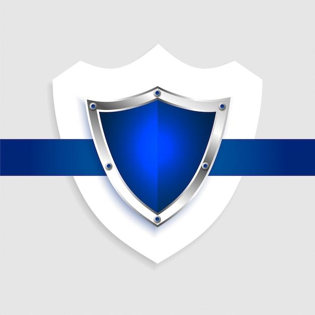 Protection shield empty blue symbol Free Vector