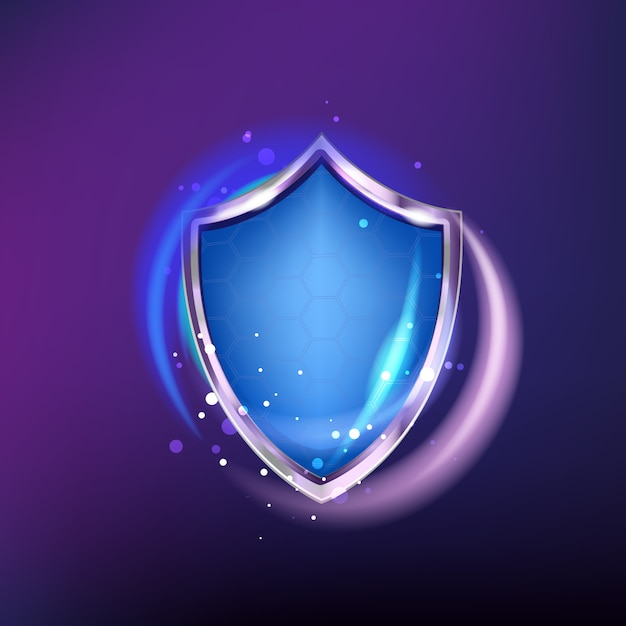 Protection shield icon isolated on blue shine   background. realistic armor and honeycombs Premium Vector