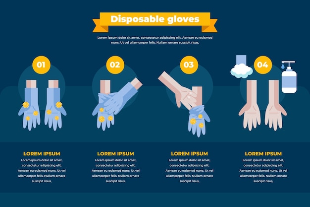 Protective disposable gloves infographic Free Vector