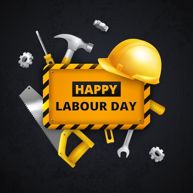 Protective equipment and tools labour day Free Vector