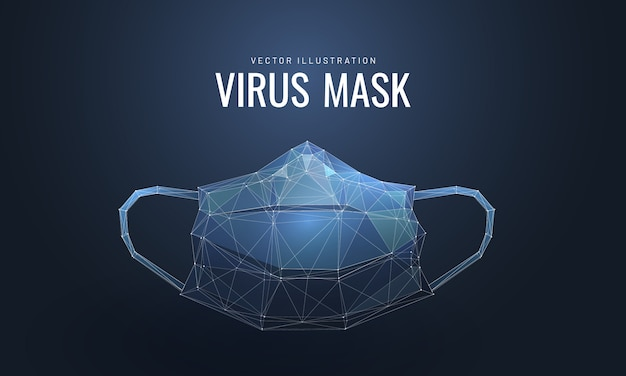 Защитная маска для лица. низкополигональная каркасный стиль. Premium векторы