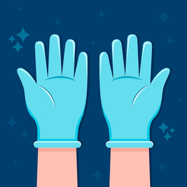 Protective gloves hand drawn design Free Vector