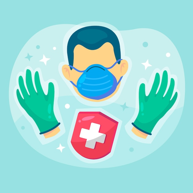 Protective hygiene gloves and mask equipment Free Vector
