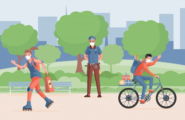 コロナウイルス病に対する保護対策。防護マスクで屋外を歩く人々。 Premiumベクター
