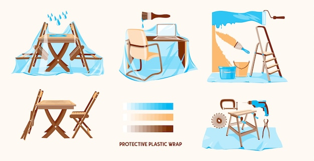 Protective plastic wrap. wrapping plastic film. furniture covered by plastic Premium Vector