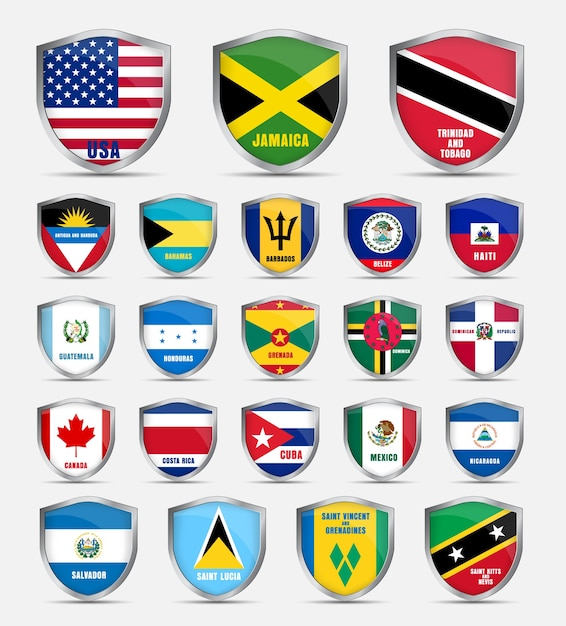 Protective shield with flags and the name of the countries of north america. set shields Premium Vector
