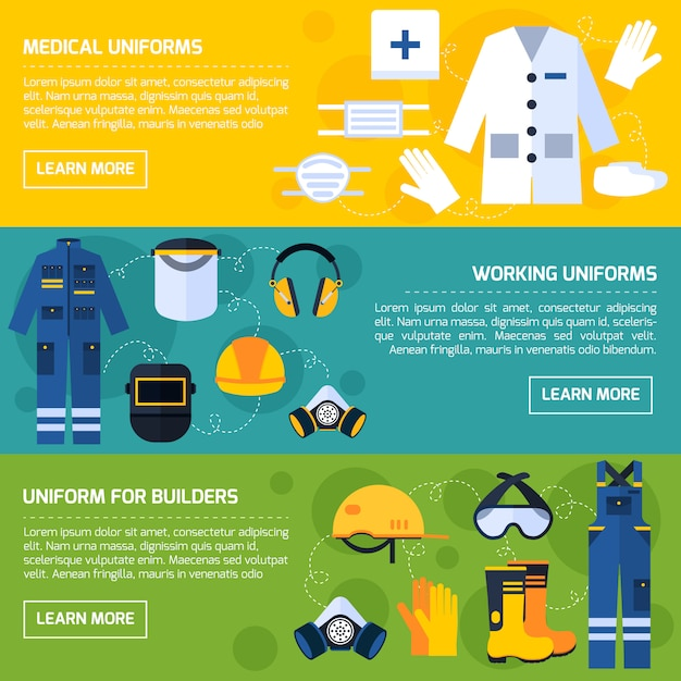 Protective uniforms equipment flat banners set Free Vector