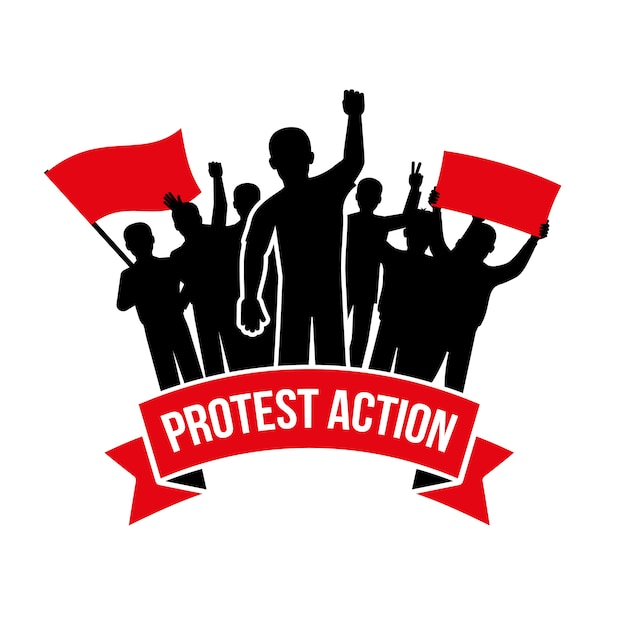 Protest action emblem Free Vector