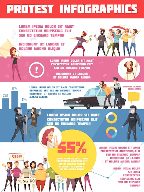 Protest actions infographics layout Free Vector