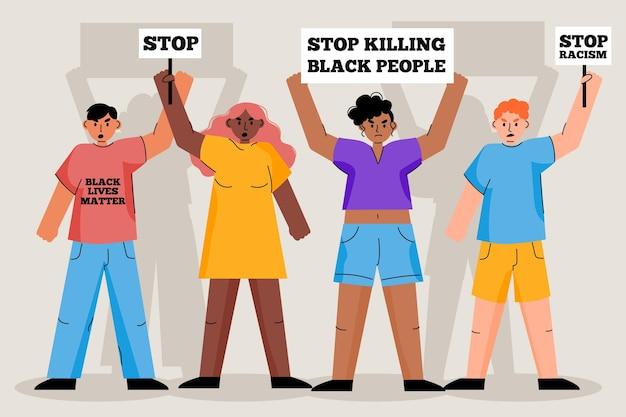 人種差別の概念に対する抗議 無料ベクター