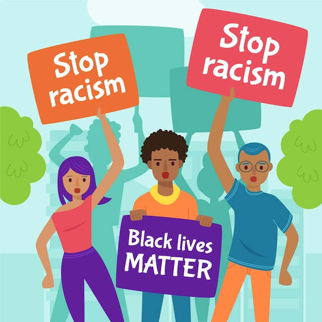 人種差別に対する抗議 無料ベクター