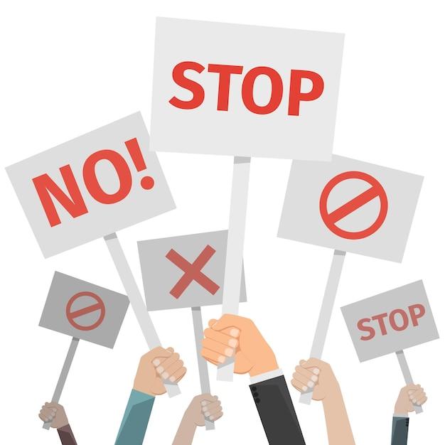 抗議の概念。異なるサインを持っている手、いいえ、停止、交差、禁止。 無料ベクター