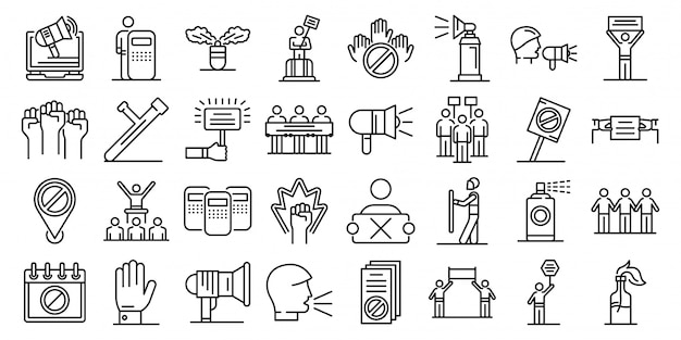 Protest icons set, outline style Premium Vector