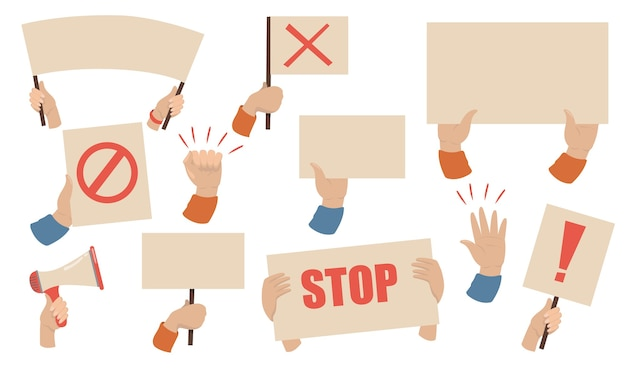 Protest placards set. hands of activists holding megaphones, banners and posters with stop signs. vector illustration for workers strike, demonstration, riot concept Free Vector