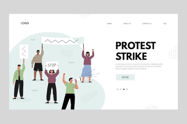 Protest strike landing page concept Free Vector
