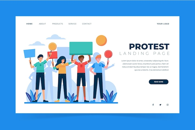 Protest strike landing page design Free Vector