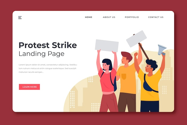 Protest strike landing page template Free Vector
