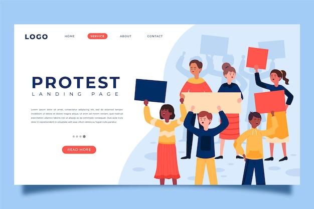 抗議ストライキのランディングページテンプレート 無料ベクター