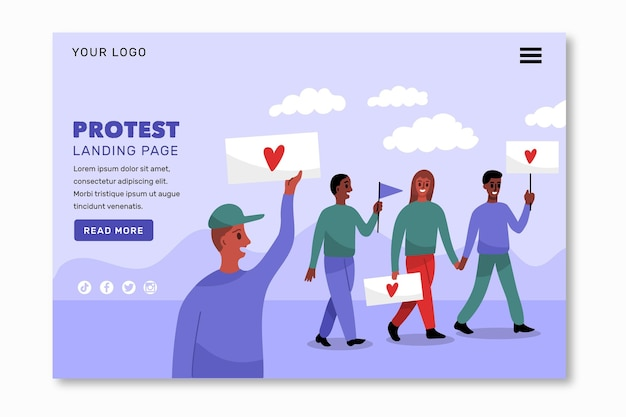 Protest strike landing page theme Free Vector