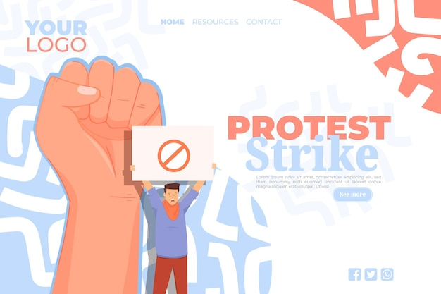 Protest strike landing page Free Vector