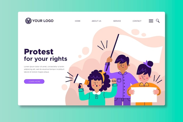 Protest strike - landing page Free Vector
