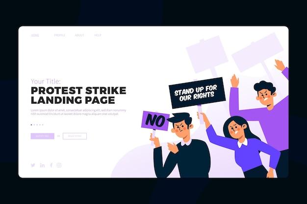 抗議ストライクのランディングページ 無料ベクター
