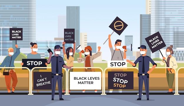 黒の人々の平等な権利のための警察のサポートの人種差別に対する抗議者群衆黒人生活バナーキャンペーン Premiumベクター