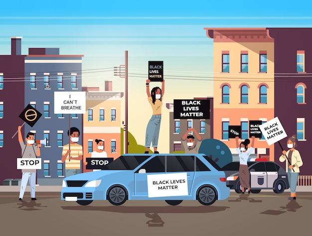 黒人の街並みの平等の権利のための警察の支援における人種差別に反対する抗議者は黒人の生活問題バナーキャンペーンで群衆 Premiumベクター