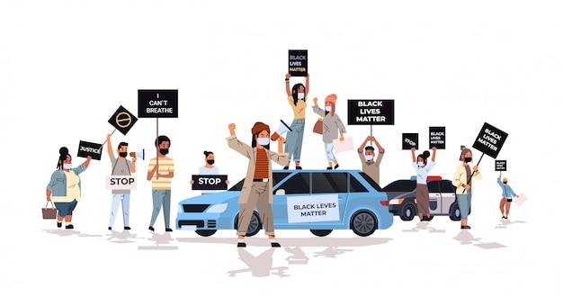 抗議者は黒人の平等な権利のための警察のサポートで人種差別に反対する黒人の生活問題バナーキャンペーンで群衆 Premiumベクター