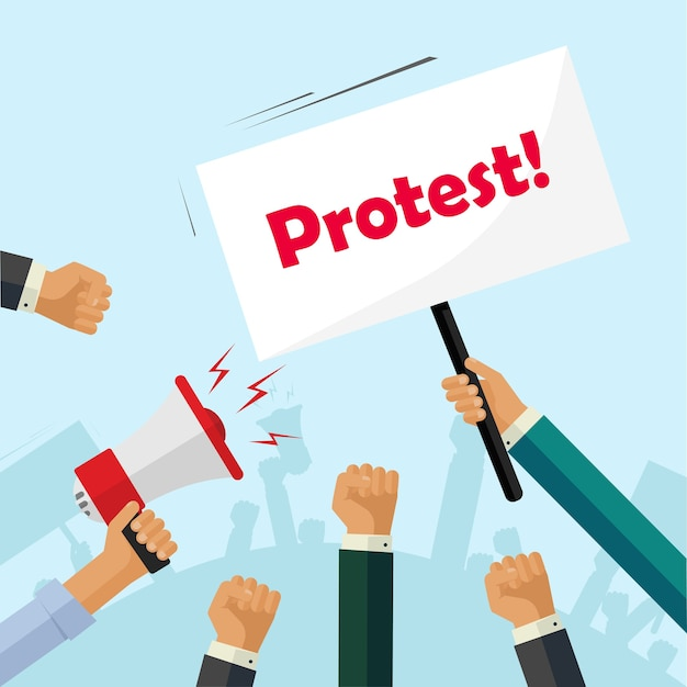 Протестующие руки держат знаки протеста, толпа людей, политические, активисты кулаки Premium векторы