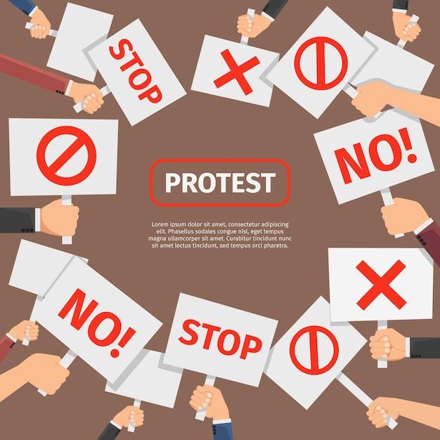 抗議者の人々の概念。抗議はテキストでフレームに署名します。抗議と革命のための看板、バナーとシンボルの看板。 無料ベクター