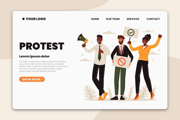 Protesters strike with placards landing page Free Vector