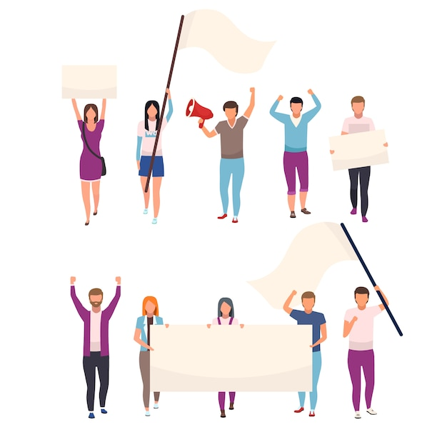 Protesters with blank placards flat vector characters set. political protest, social movement participants holding empty banners. human rights protection manifestation isolated cartoon illustrations Premium Vector