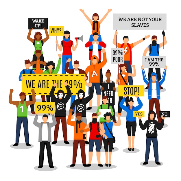 Protesting crowd faceless composition Free Vector