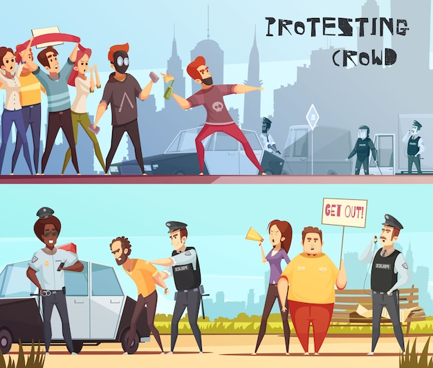 Protesting crowd horizontal banners Free Vector