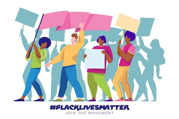 人種差別に抗議する人々 無料ベクター