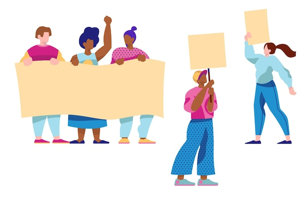 Protesting people collection Free Vector