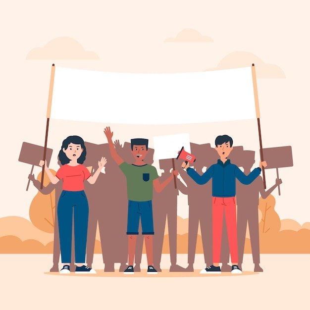 Protesting people concept Free Vector