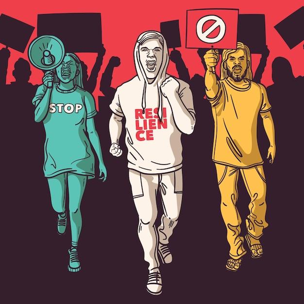 抗議する人々のコンセプト 無料ベクター