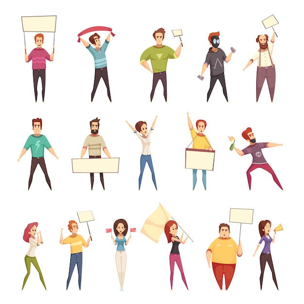Protesting people decorative s set Free Vector